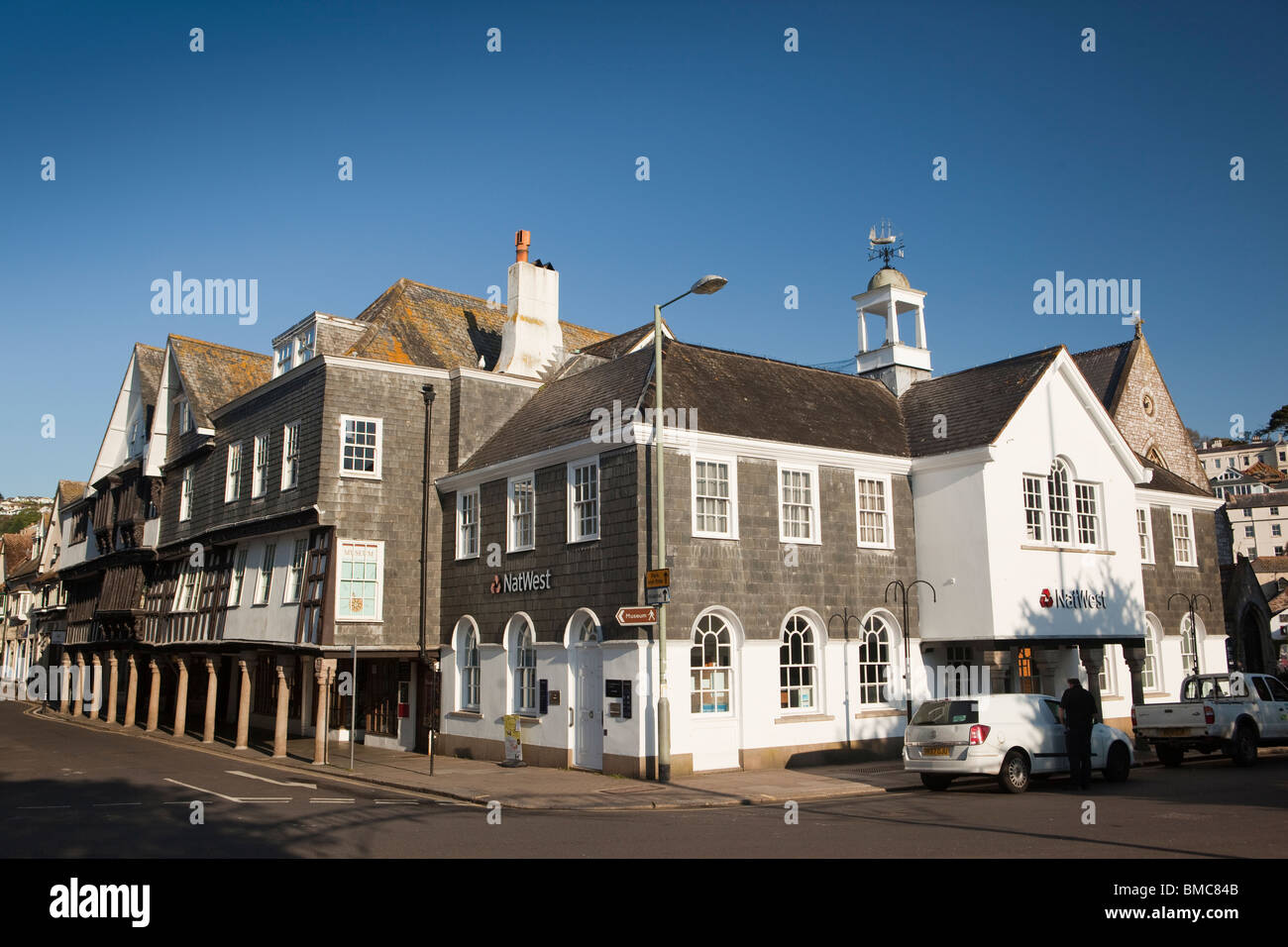 UK, England, Devon, Dartmouth, Town Centre historic butterwalk building and town museum - Stock Image