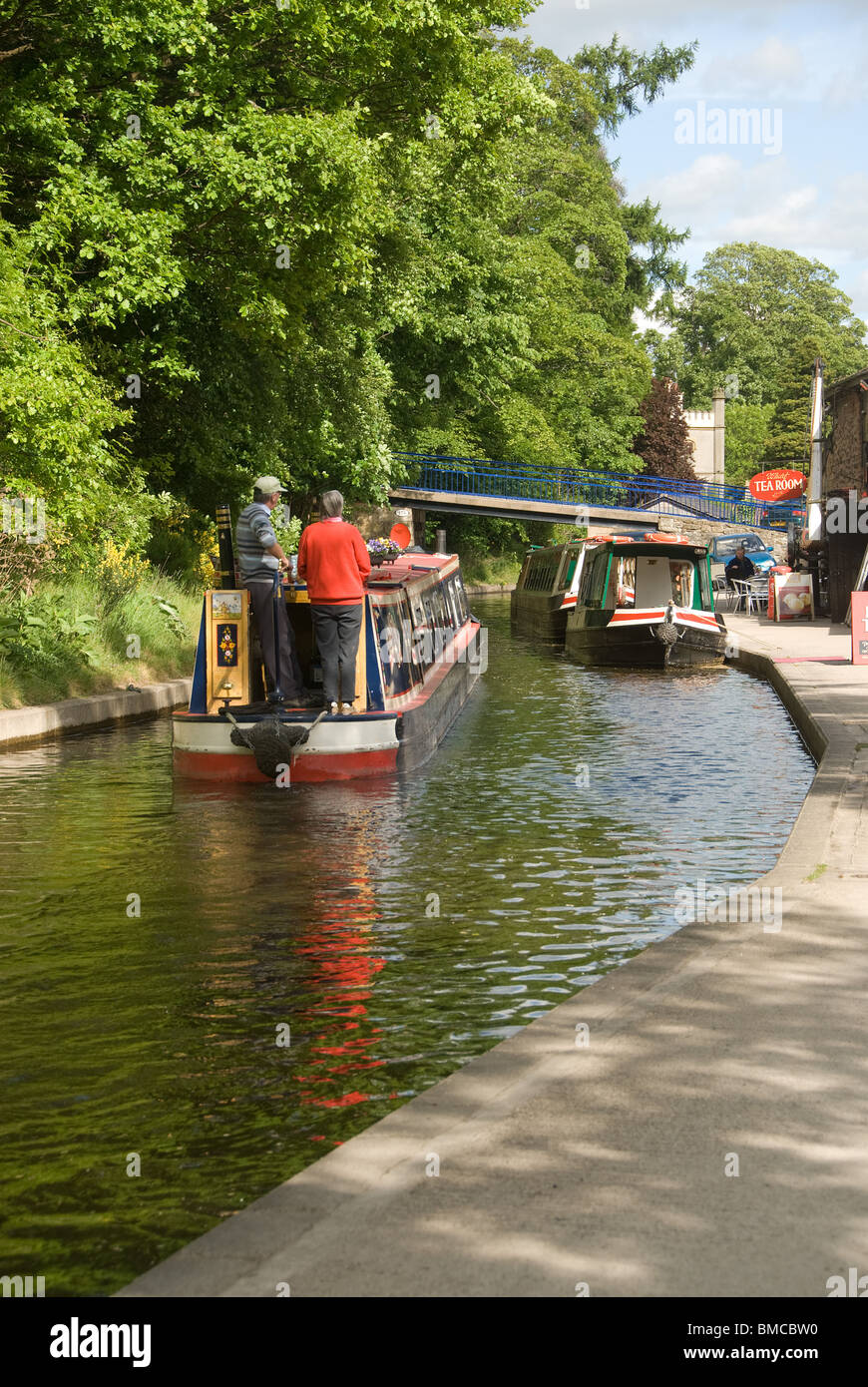 Narrow boats on Llangollen Canal - Stock Image