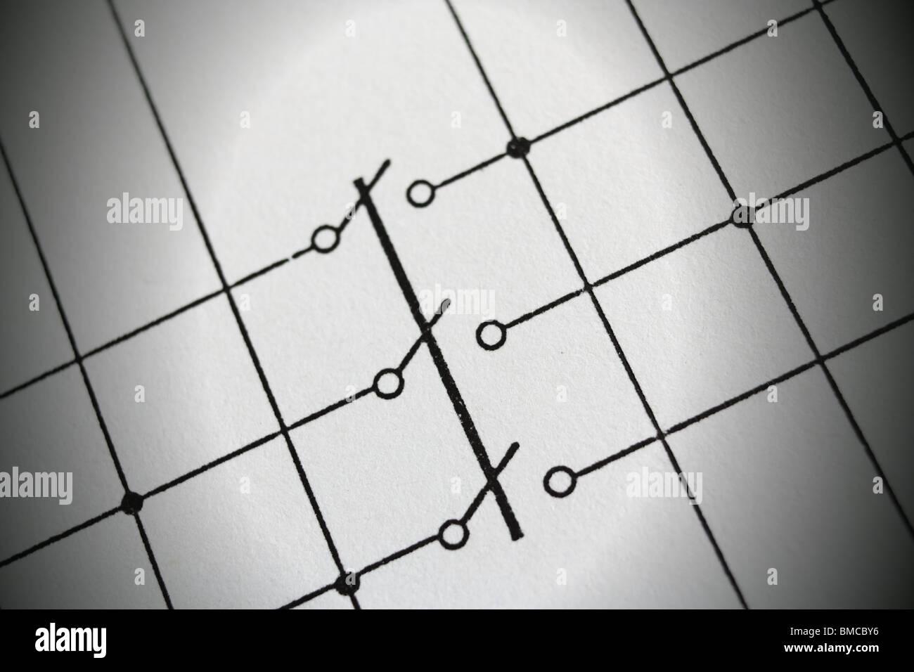 A high voltage disconnector schematics symbol. - Stock Image