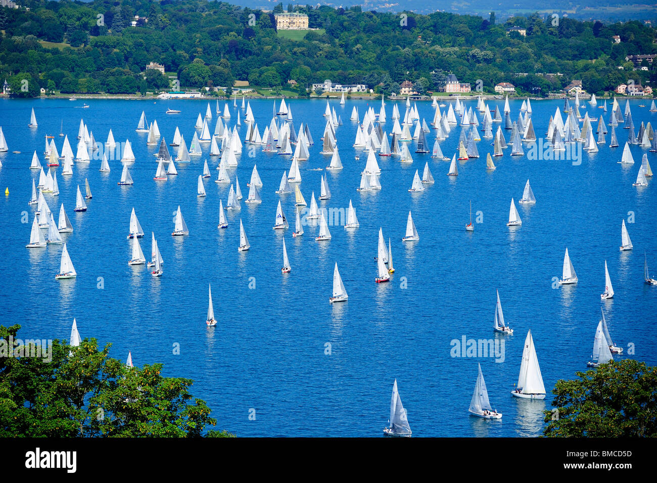 The start of the annual Bol d'Or sailing race on Lac Léman, Switzerland, viewed from a high viewpoint at - Stock Image