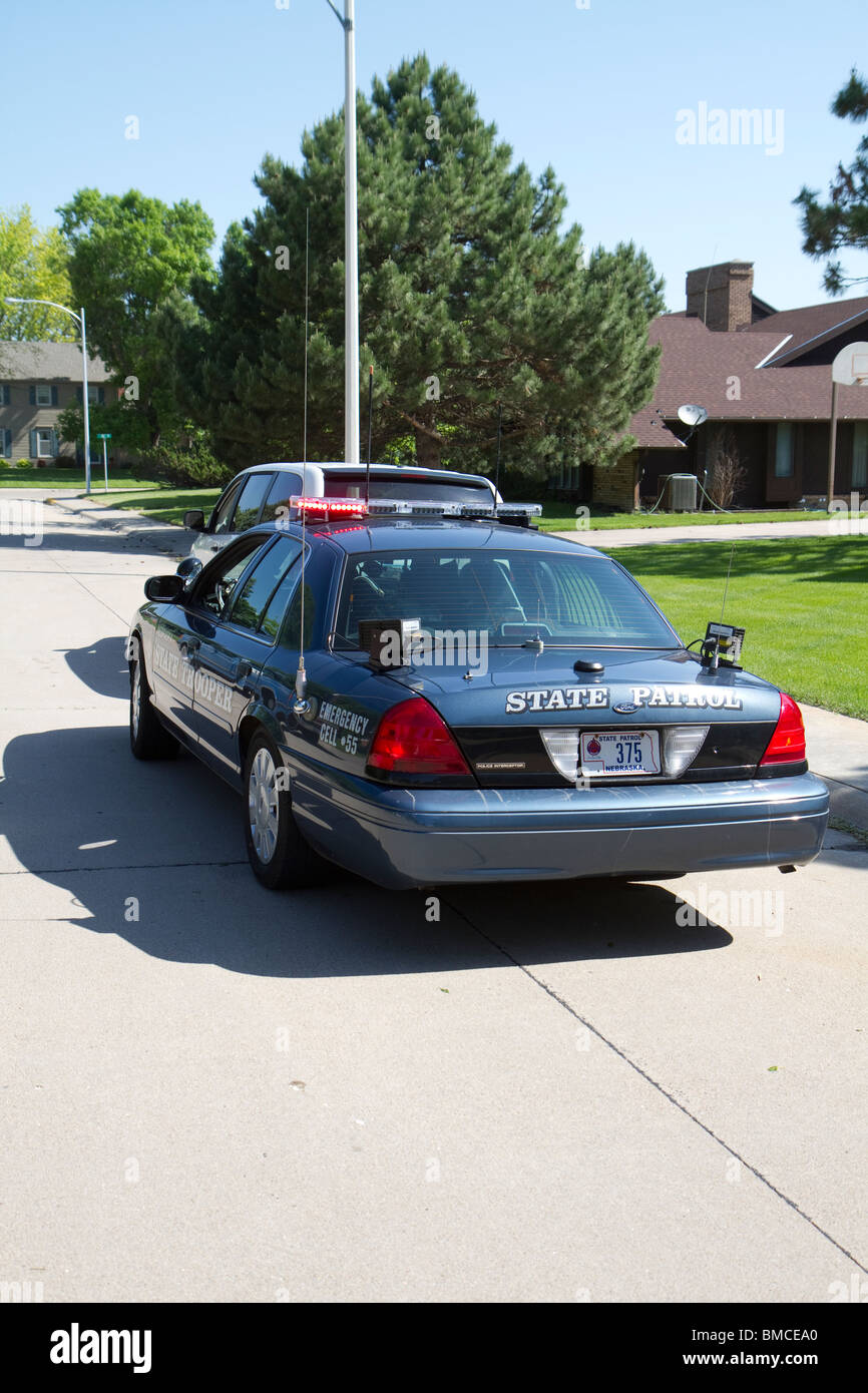 Traffic stop, Using a License Plate Reader, LPR, the Troopers can get instant information about the vehicle stopped - Stock Image
