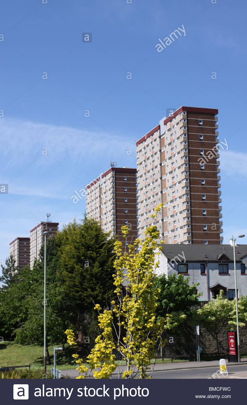 Tower blocks of Alexander Street council housing residential tower block in Dundee, Scotland - Stock Image