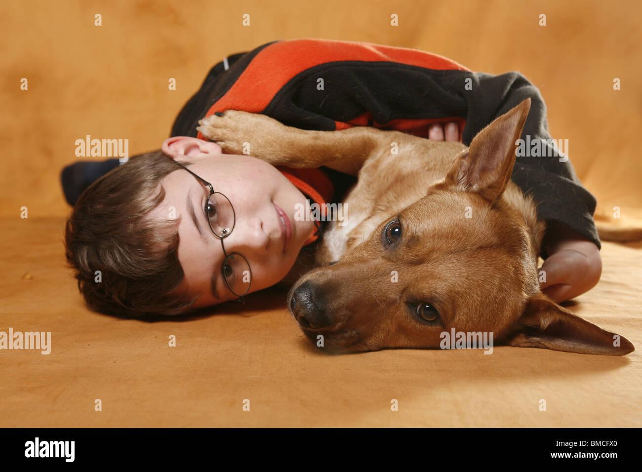 Junge schmust mit Hund / boy with dog Stock Photo