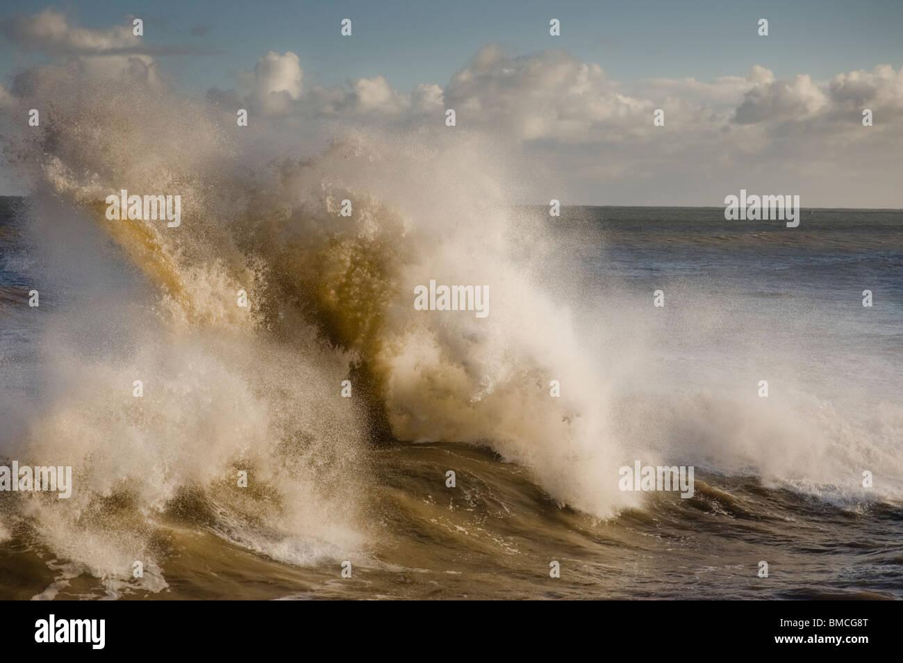 Rough Seas at Bridlington East Yorkshire - Stock Image