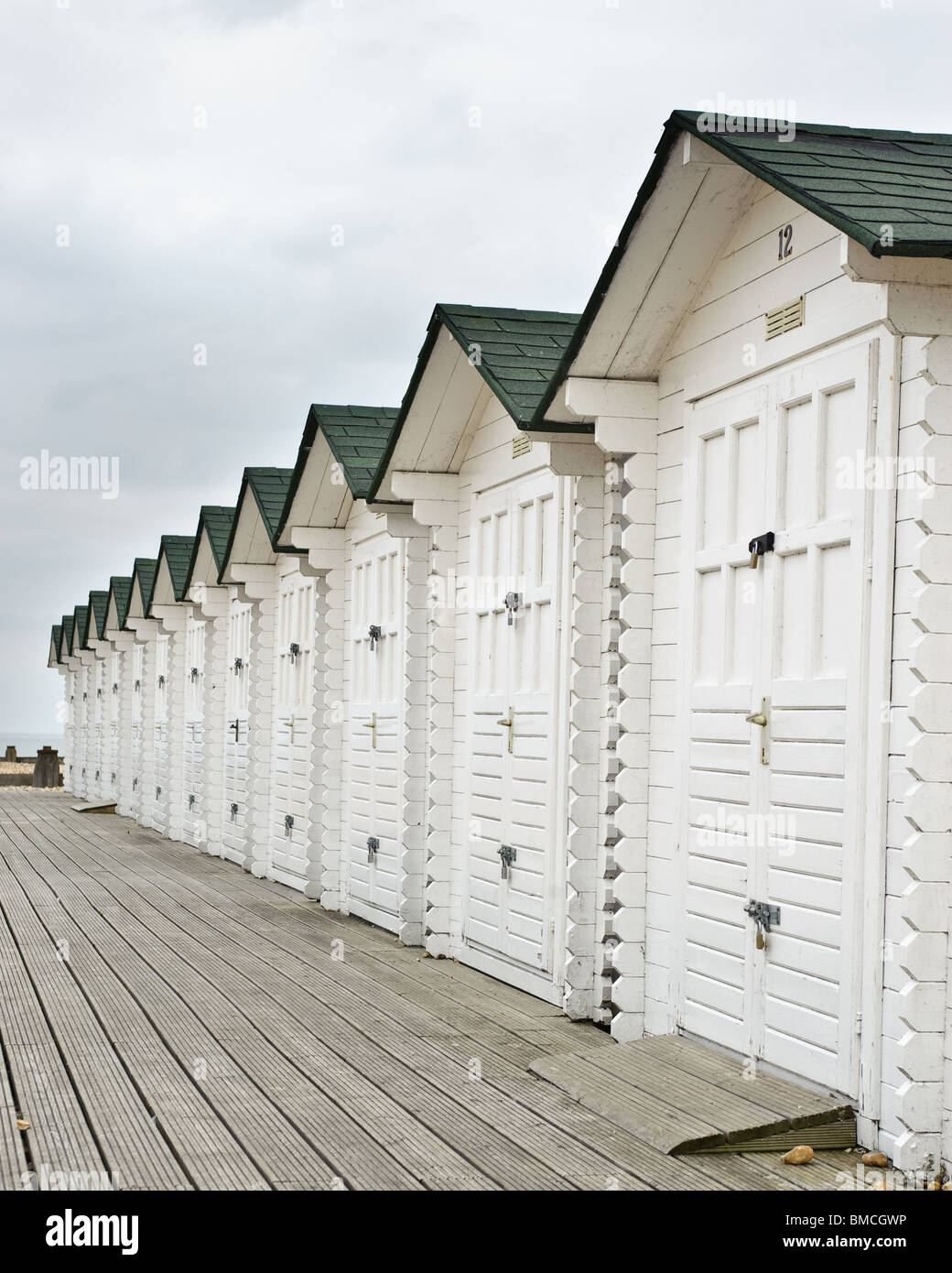 Beach huts on Eastbourne Seafront - Stock Image