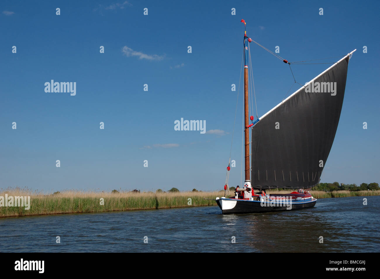 Historic Norfolk trading wherry Albion on the River Bure, Broads National Park Stock Photo