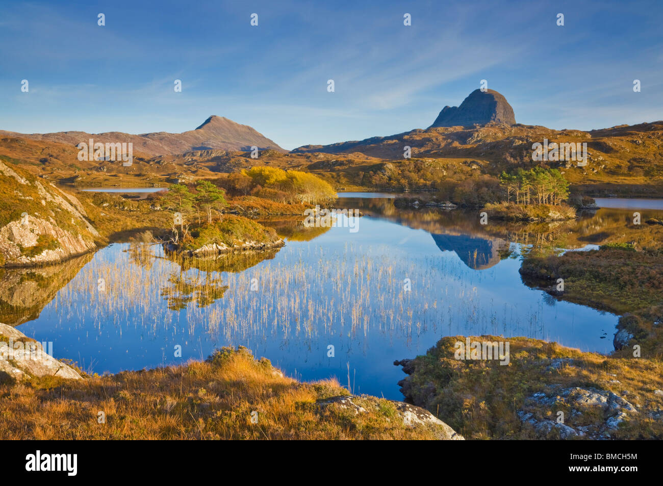 Two mountains of Suilven and Canisp from Loch Druim Suardalain, Sutherland, North west Scotland, UK, GB, EU, Europe - Stock Image
