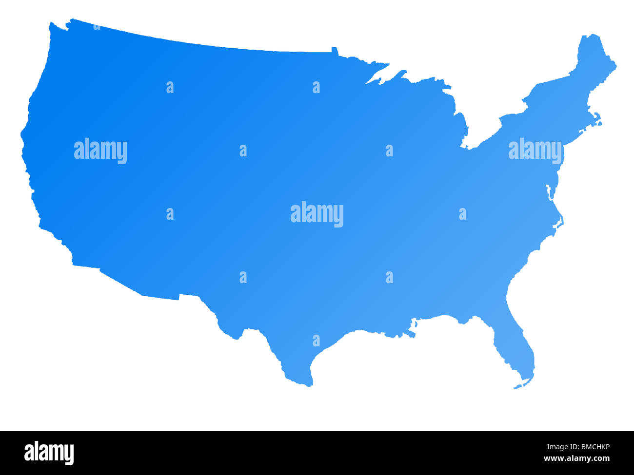 Map of America or USA, isolated on white background. Stock Photo