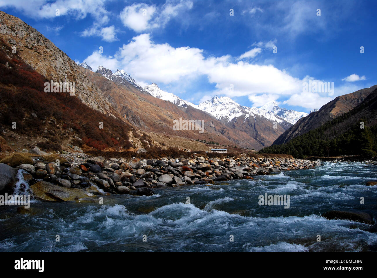 Kinnor valley , Himalayan mountain view from  Kolpa  (Uttaranchal ) , India . - Stock Image