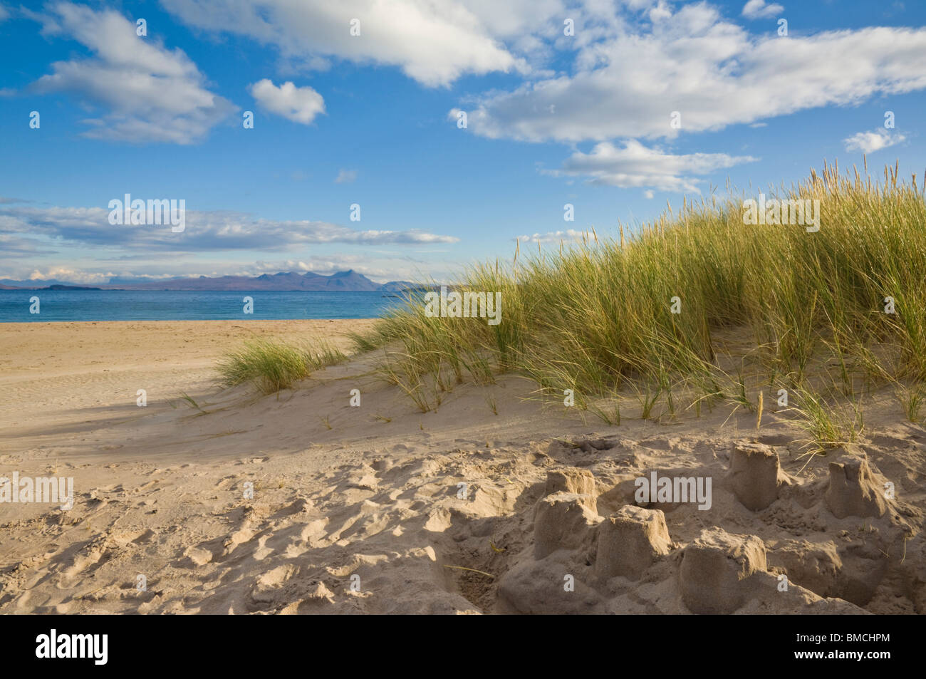 A sand castle in the sand dunes and dune grasses of Mellon Udrigle beach, Wester Ross, north west Scotland, UK, - Stock Image