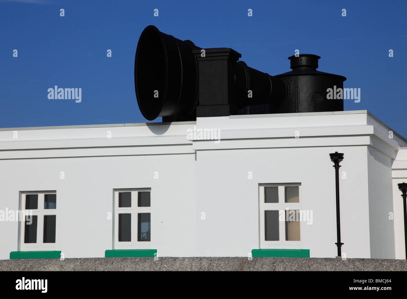 Fog horn in Mannez Lighthouse, Alderney, Channel Island United Kingdom - Stock Image