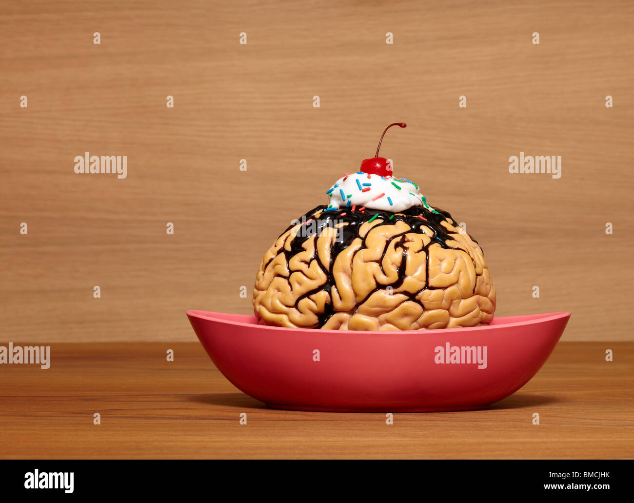 Brain Sundae with Cherry on Top - Stock Image