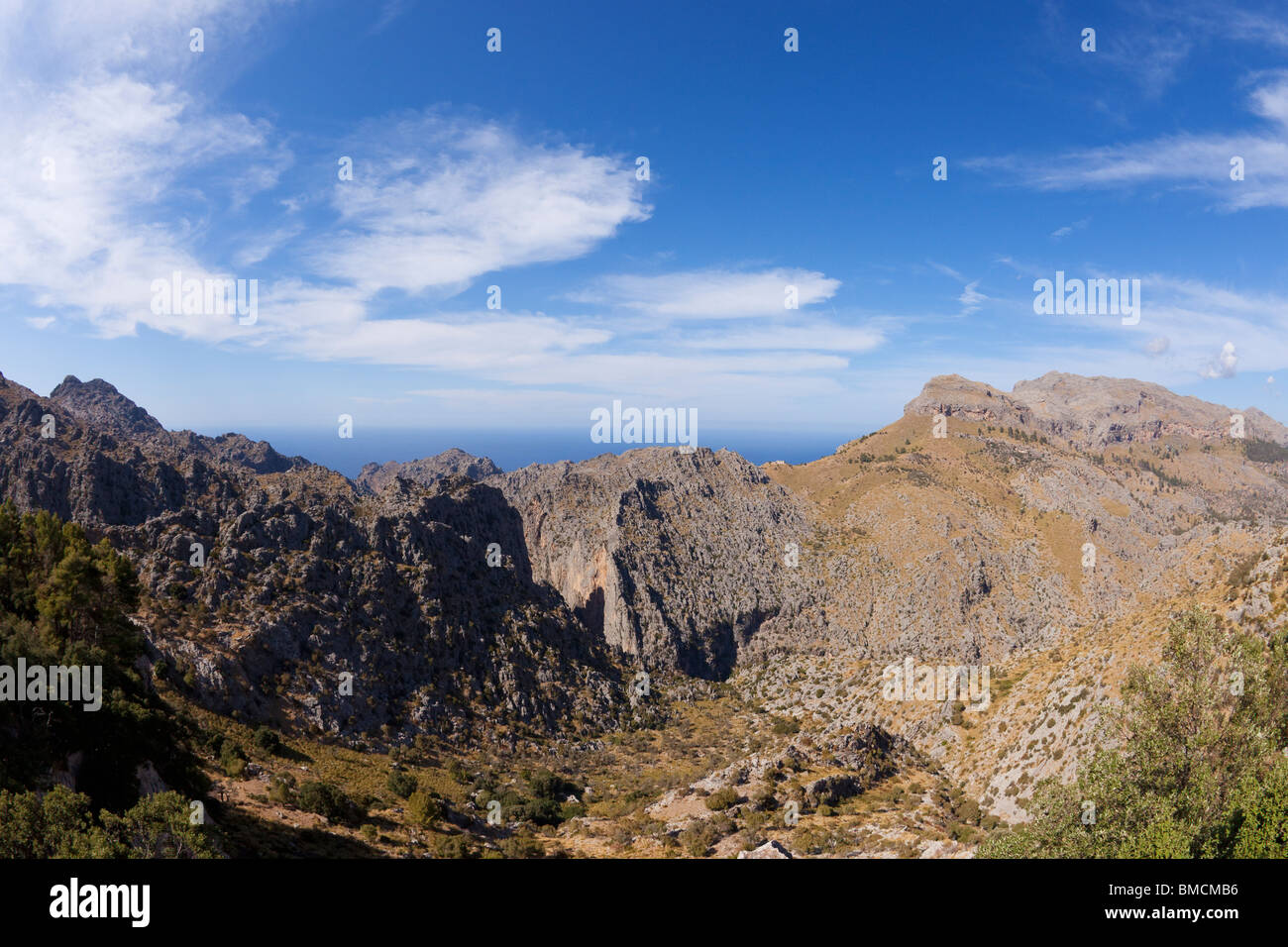 View from Escorca viewpoint of northern Majorcan coast Mallorca Balearic Islands Spain Europe EU - Stock Image