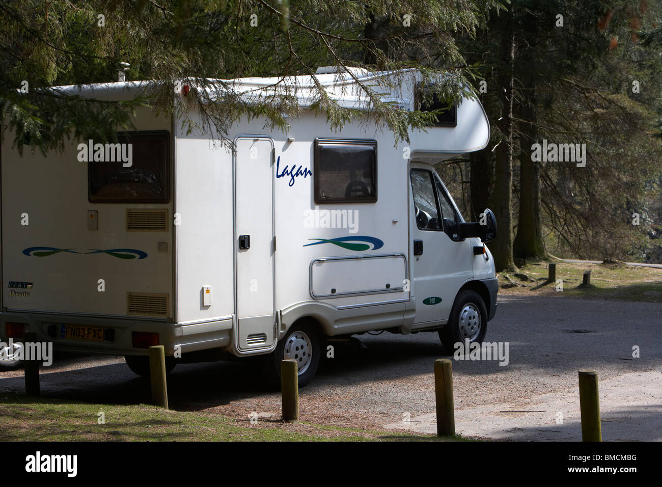 motorhome parked in a car park in the derwent valley peak district national park derbyshire england uk - Stock Image