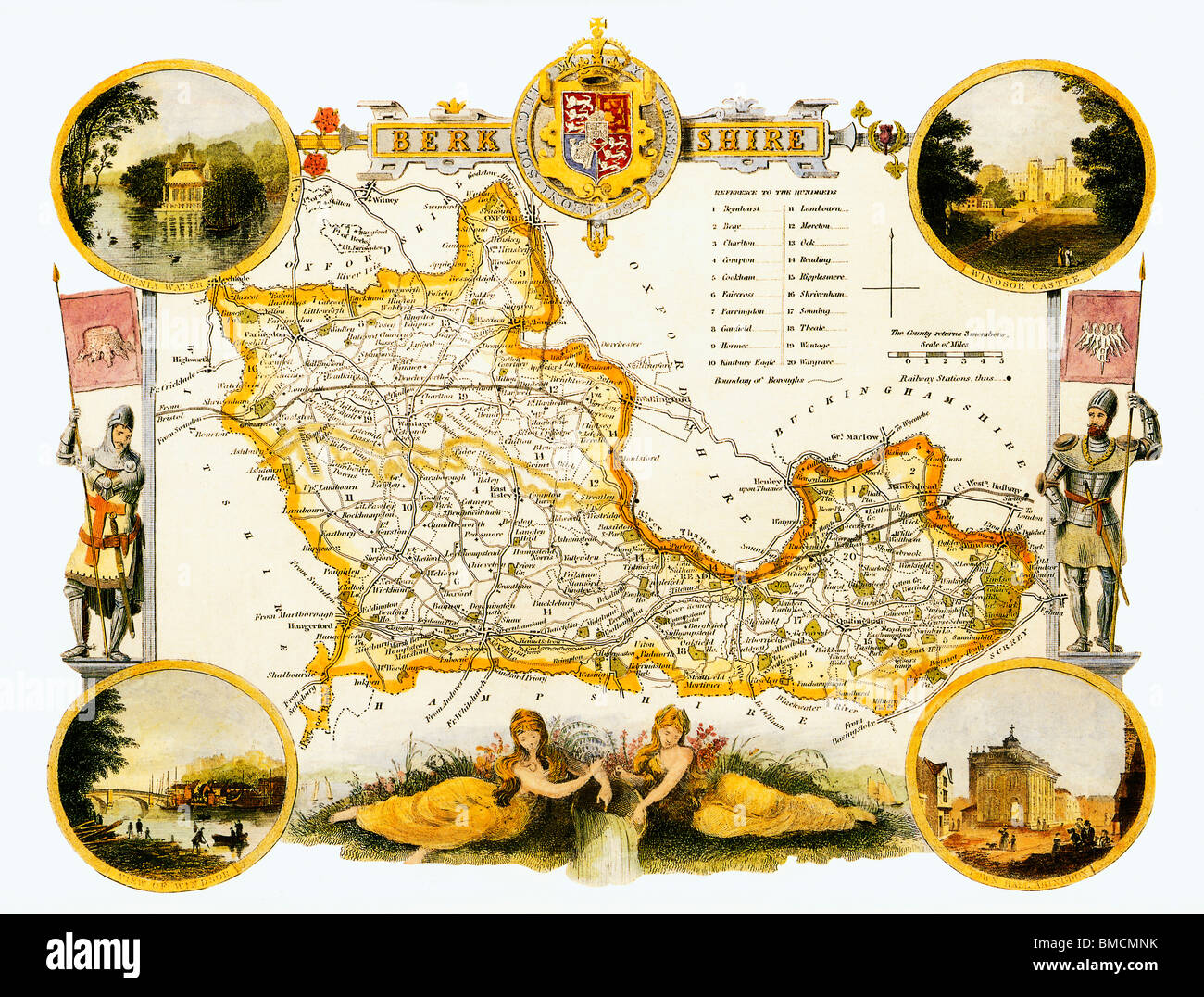 Berkshire, Thomas Moule Map, from the late 1840s the illustrated map of the Royal county of England - Stock Image
