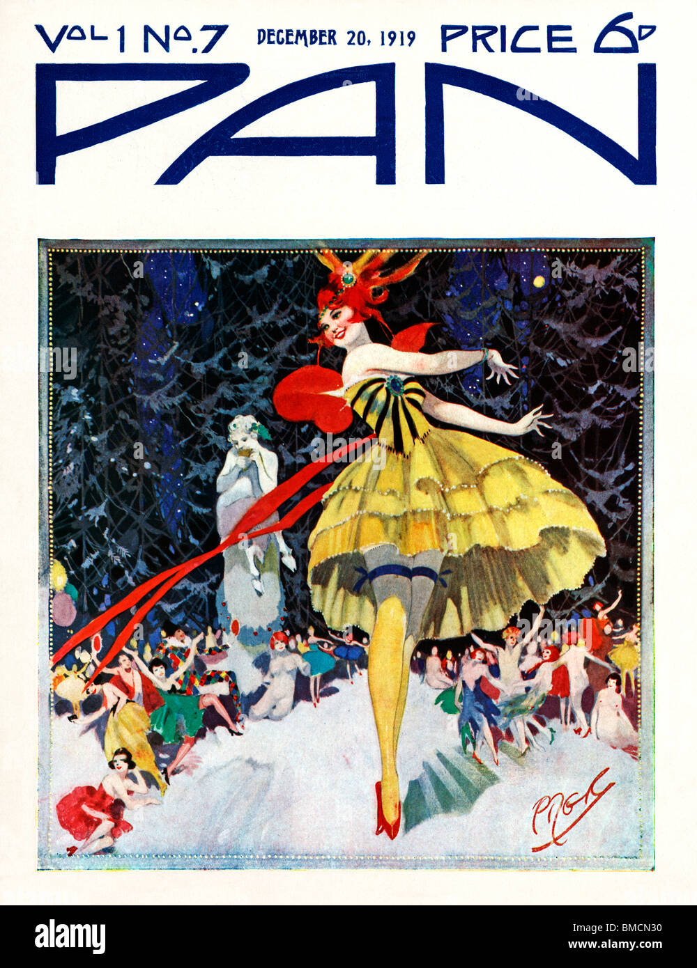 Pan, 20 December 1919, art deco cover of the English literary magazine, Christmas party time in the snow - Stock Image