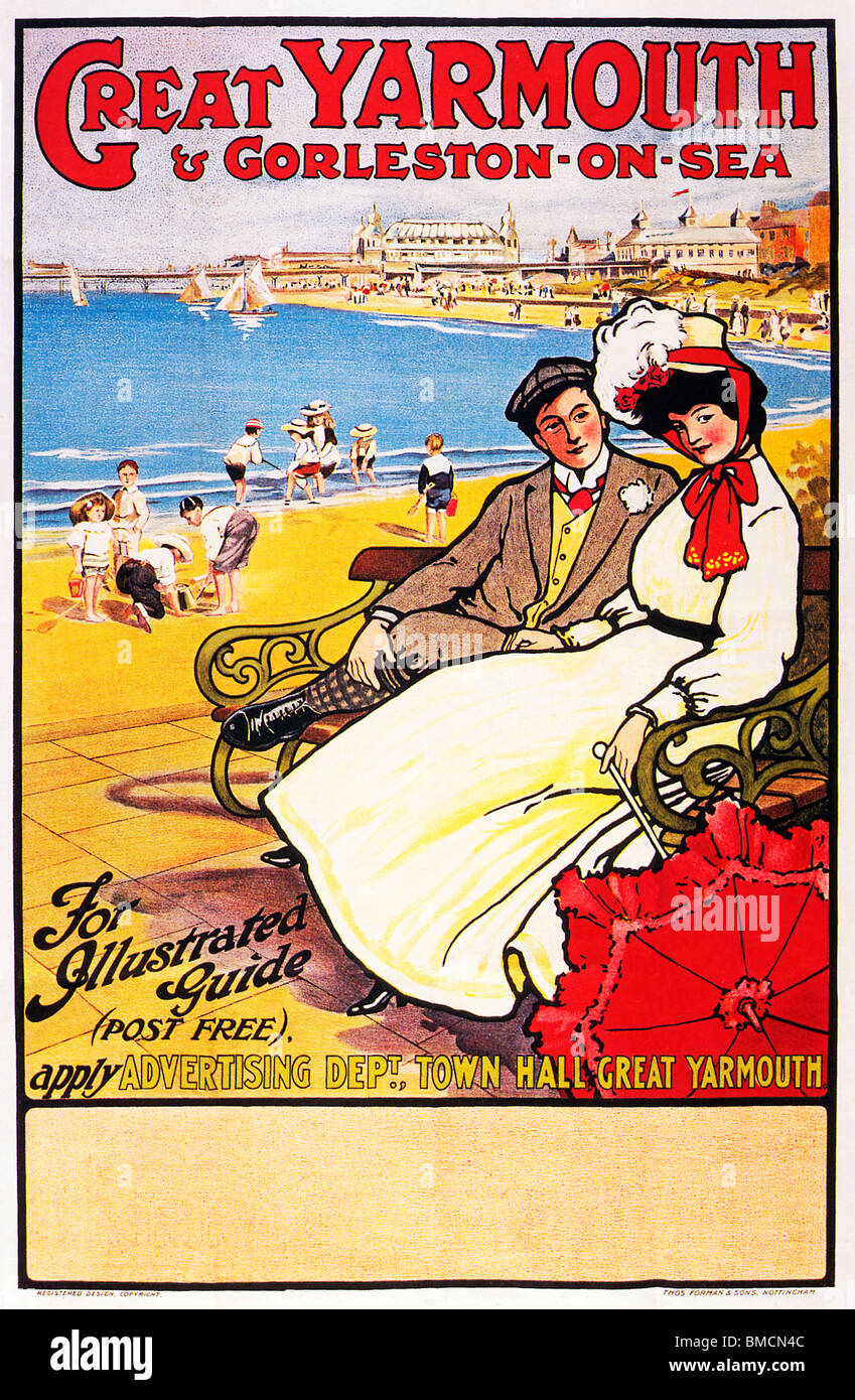 Great Yarmouth, 1910, and Gorleston-on-Sea, poster by the local council advertising the Norfolk seaside resort - Stock Image