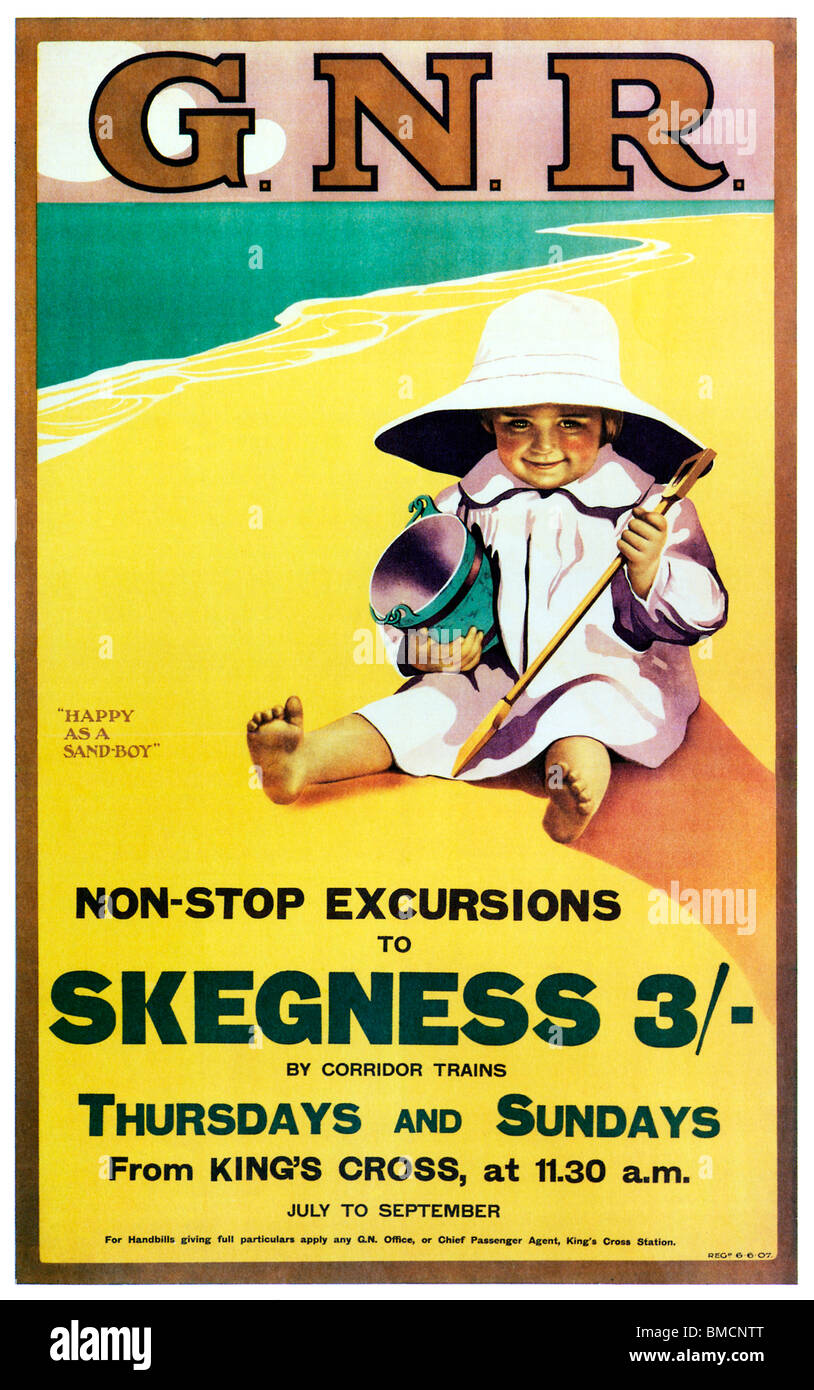 Happy as a Sandboy, 1907 poster by the Great Northern Railway for the beach holiday delights of the Lincolnshire Stock Photo