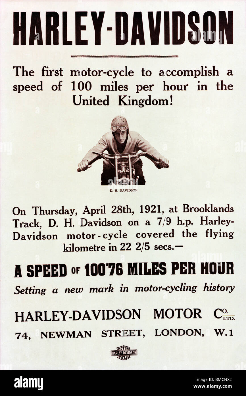 Harley Davidson, 100mph poster for the famous American motorcycle when it broke the speed barrier in 1921 at Brooklands - Stock Image