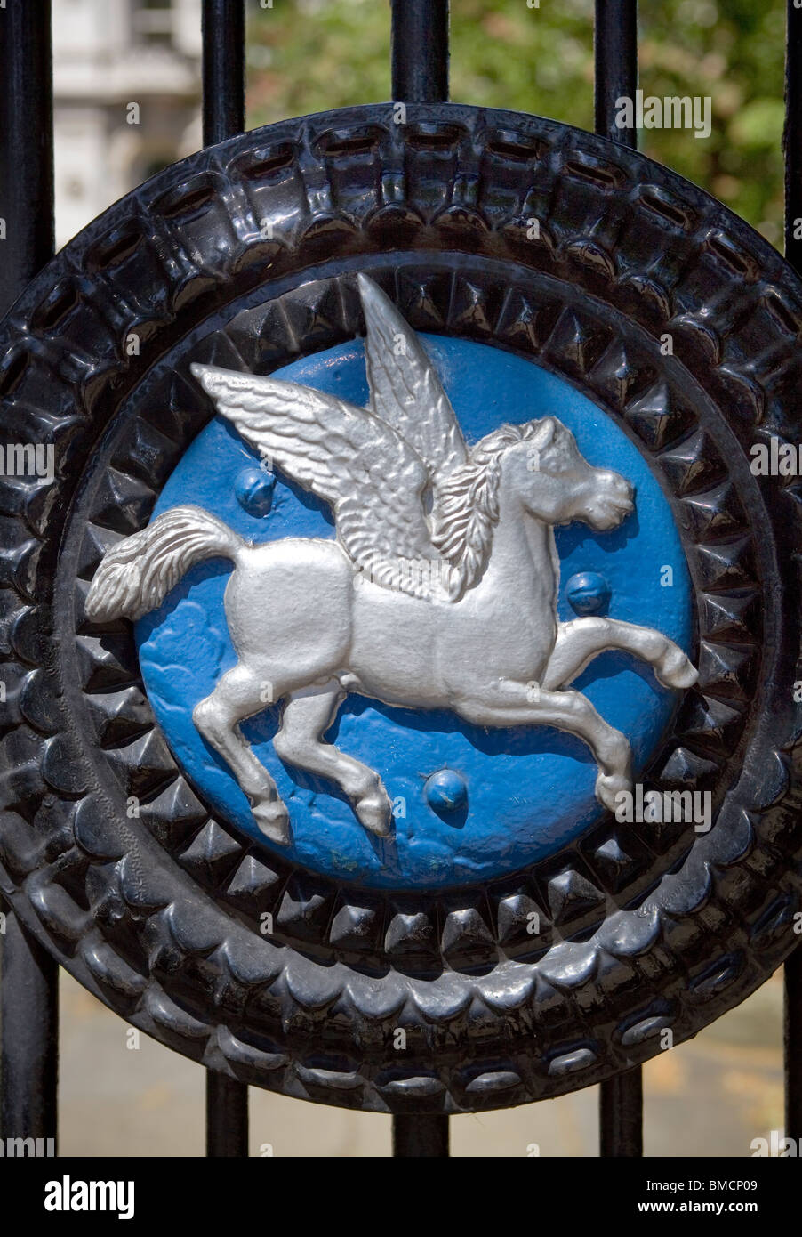 Winged Horse Pegasus Emblem Temple London - Stock Image