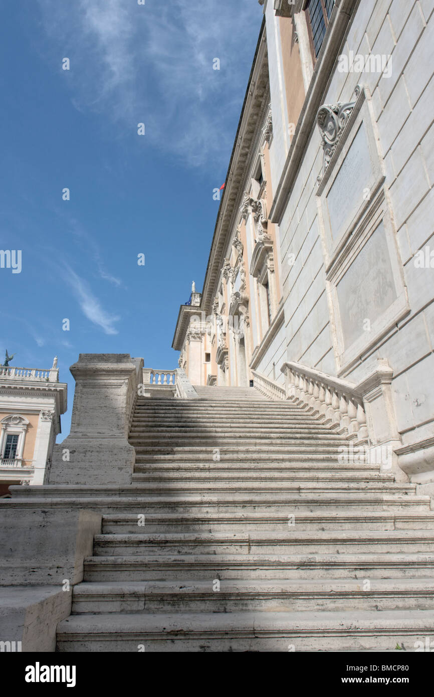 Rome, Italy. Flight of steps on the façade of Palazzo Senatorio, on the Capitoline hill. Stock Photo