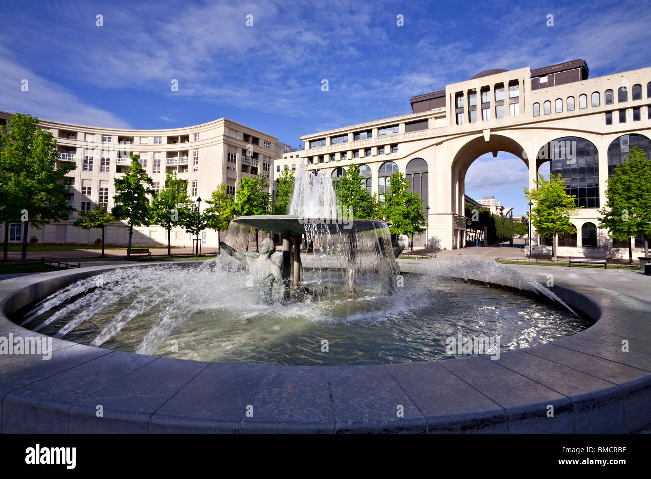 Fountain at the place Zeus, Antigone of Montpellier, France Stock Photo