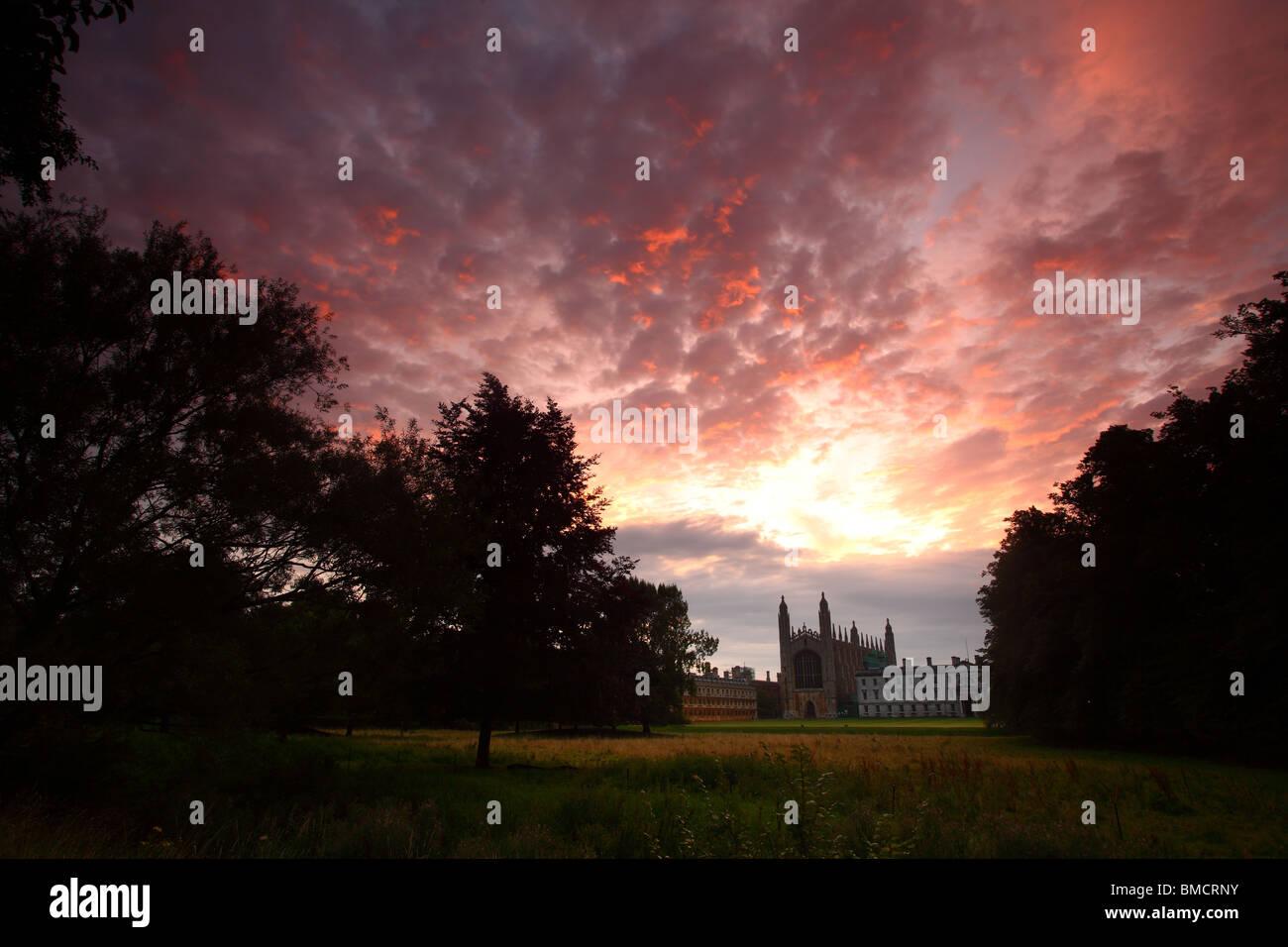 King's College, Cambridge University, from the Backs at sunrise - Stock Image