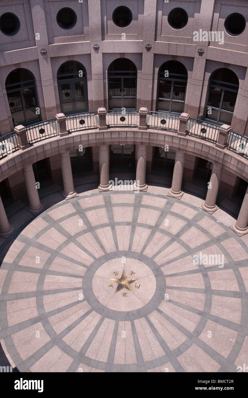 Open air rotunda of the capitol extension of the Texas state capitol building or statehouse in Austin - Stock Image