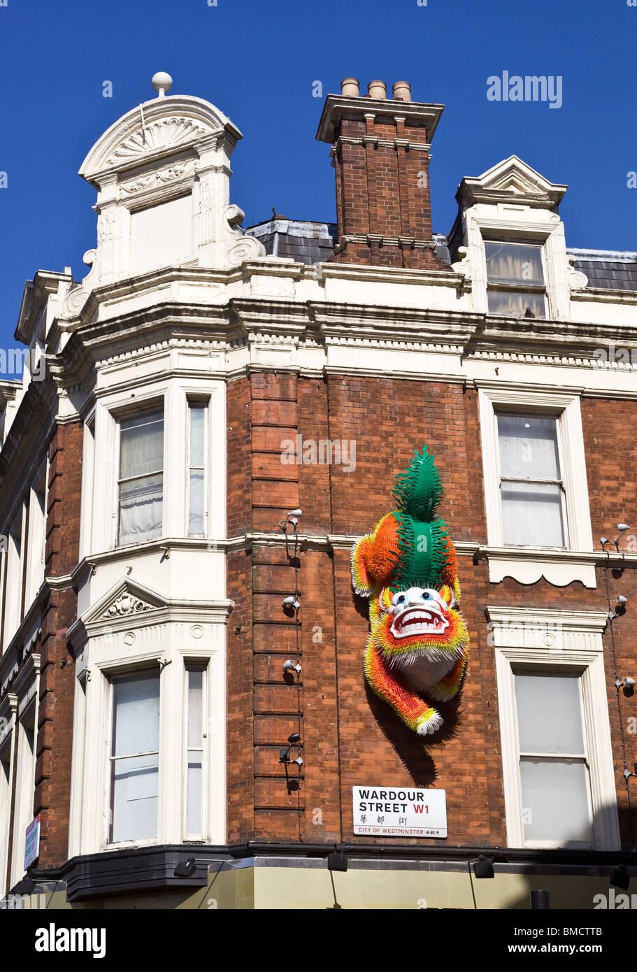 Wardour Street with Chinese Dragon London England UK - Stock Image