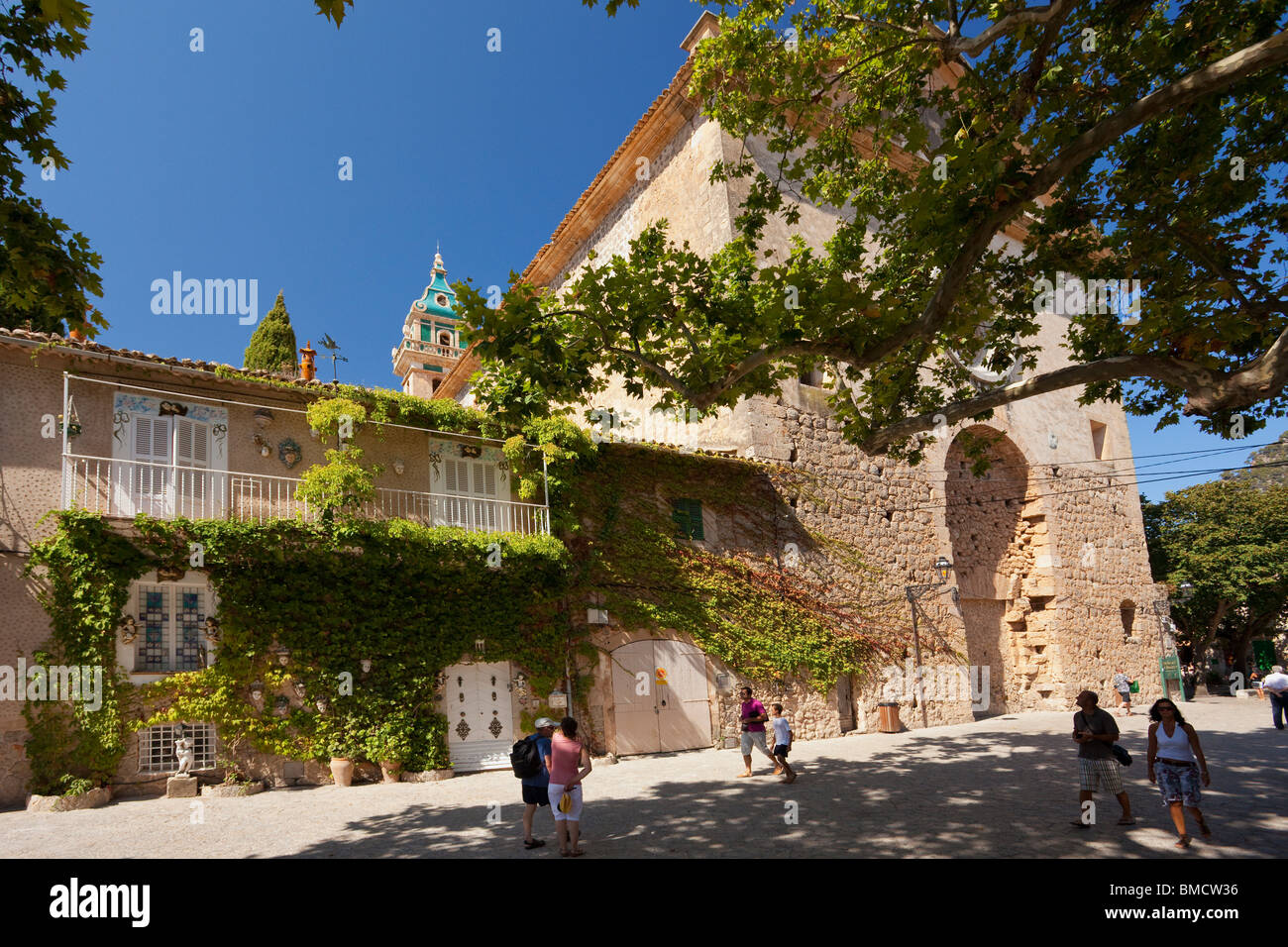 Real Cartuja de Valldemossa town in summer Majorca Mallorca Spain Europe EU - Stock Image