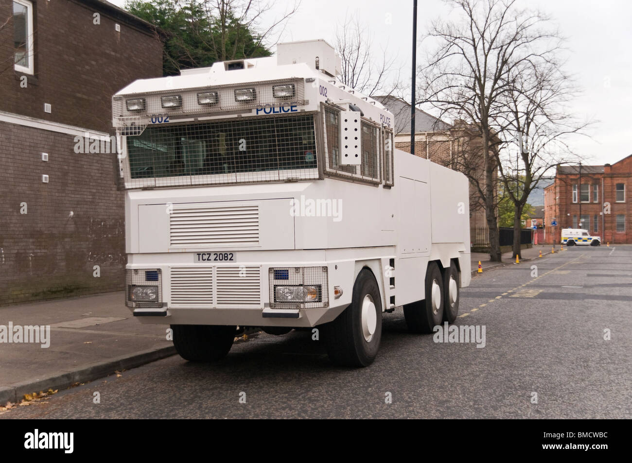 Front/side of a PSNI Police Water cannon vehicle - Stock Image