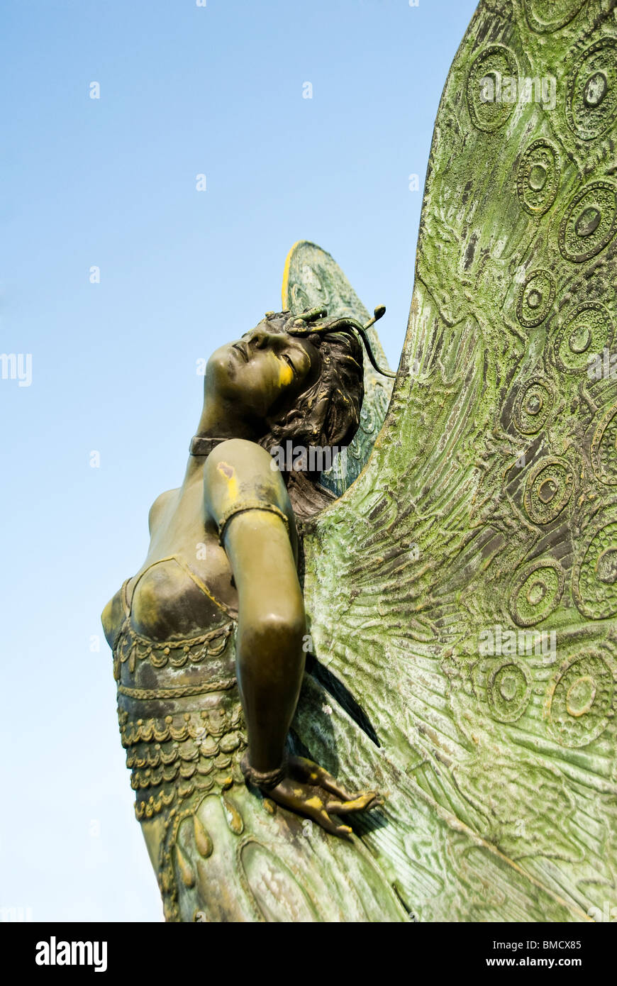 The Butterfly Lady, bronze sculpture by August Moreau in the Theater and Arts District of Sarasota, Florida, USA - Stock Image