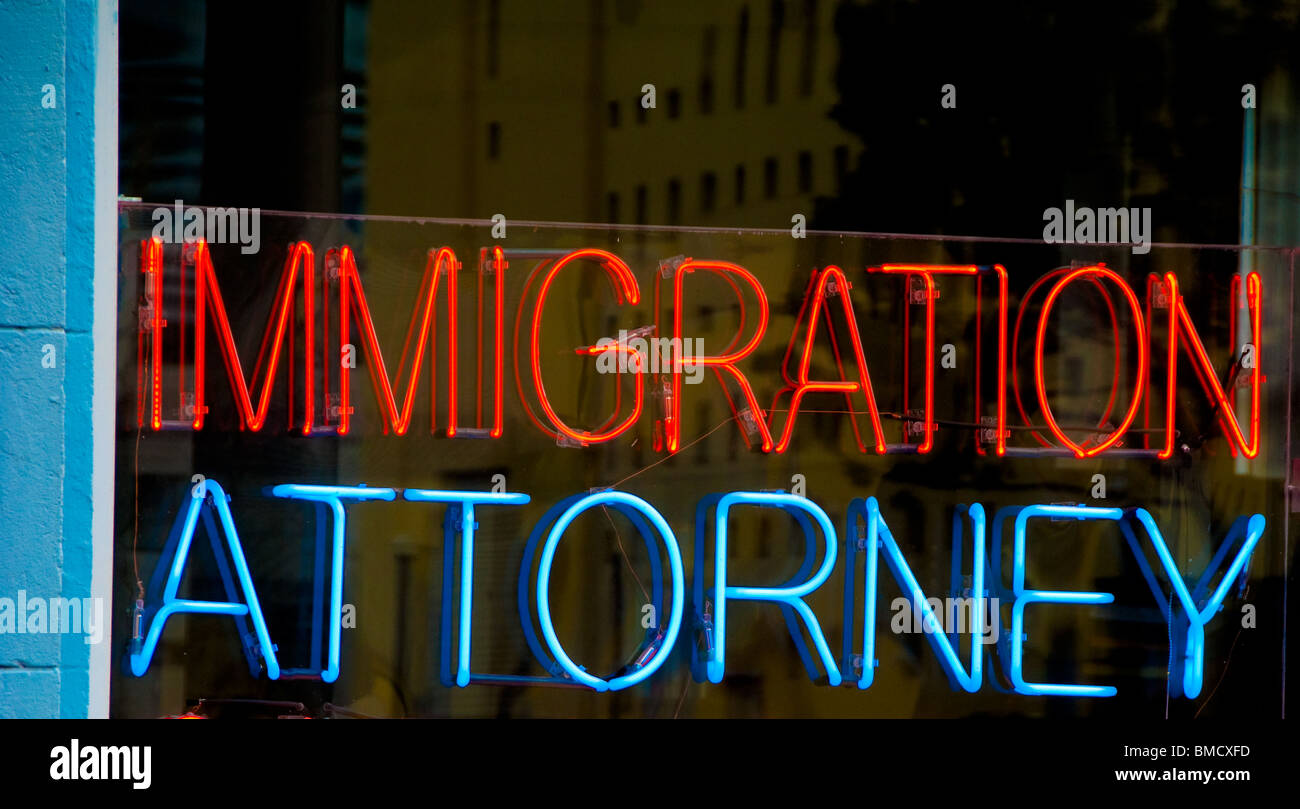 Immigration attorney sign in window, Miami Beach, Florida, USA - Stock Image