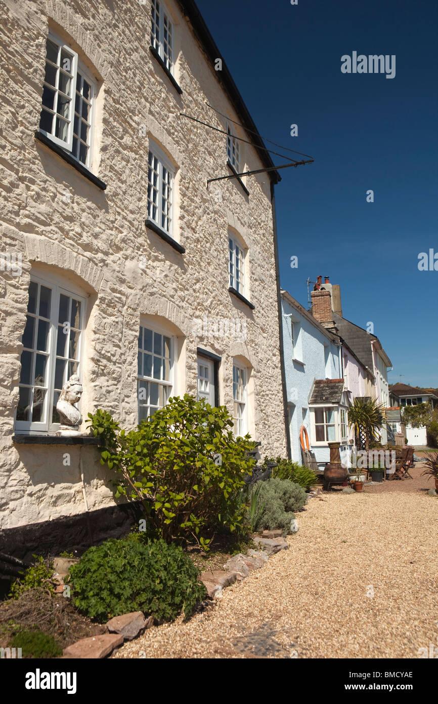 UK, England, Devon, Dittisham, colourfully painted riverside, houses on the Quay Stock Photo
