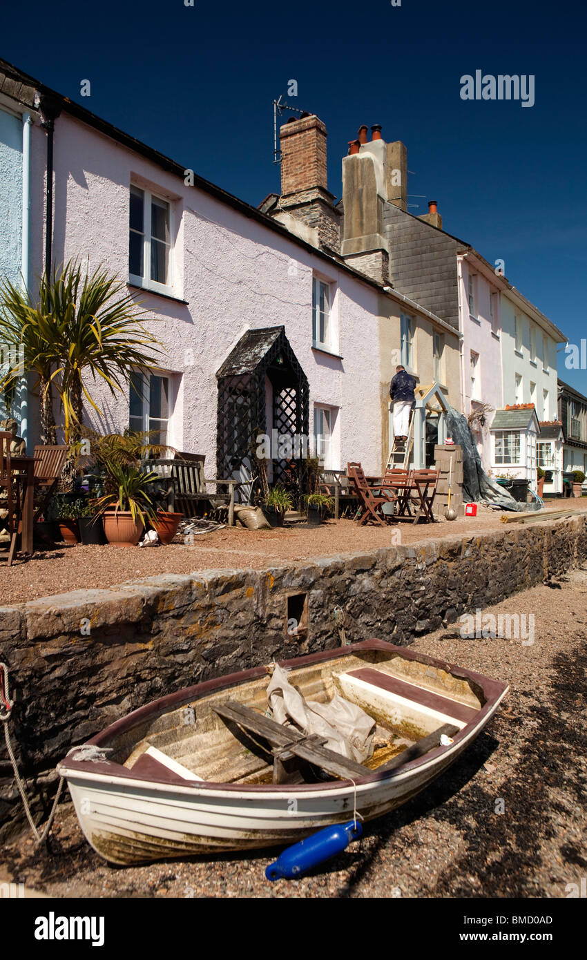 UK, England, Devon, Dittisham, colourfully painted riverside houses on the Quay Stock Photo