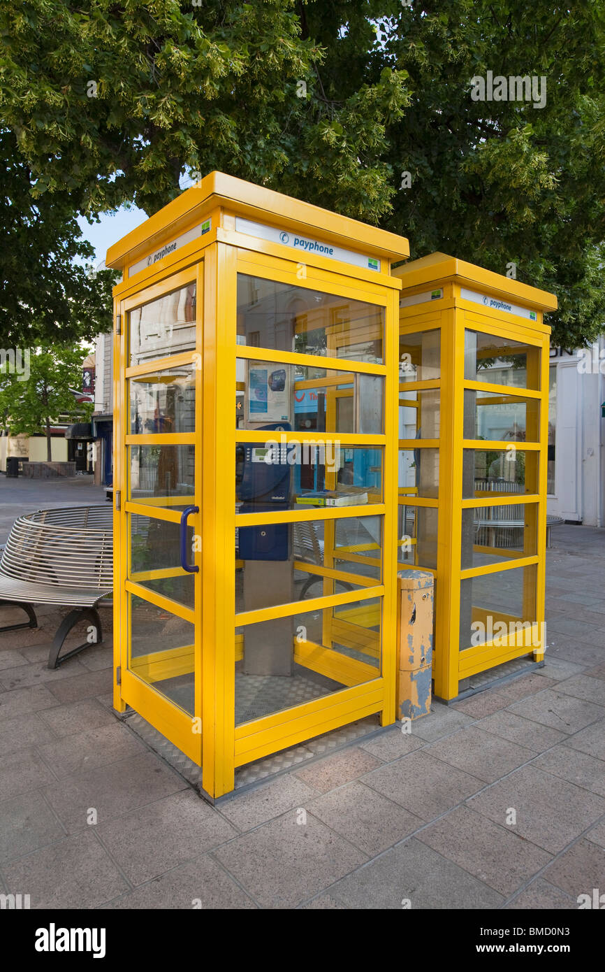 Traditional yellow telephone boxes, St. Helier, Jersey, Channel Islands, Great Britain - Stock Image