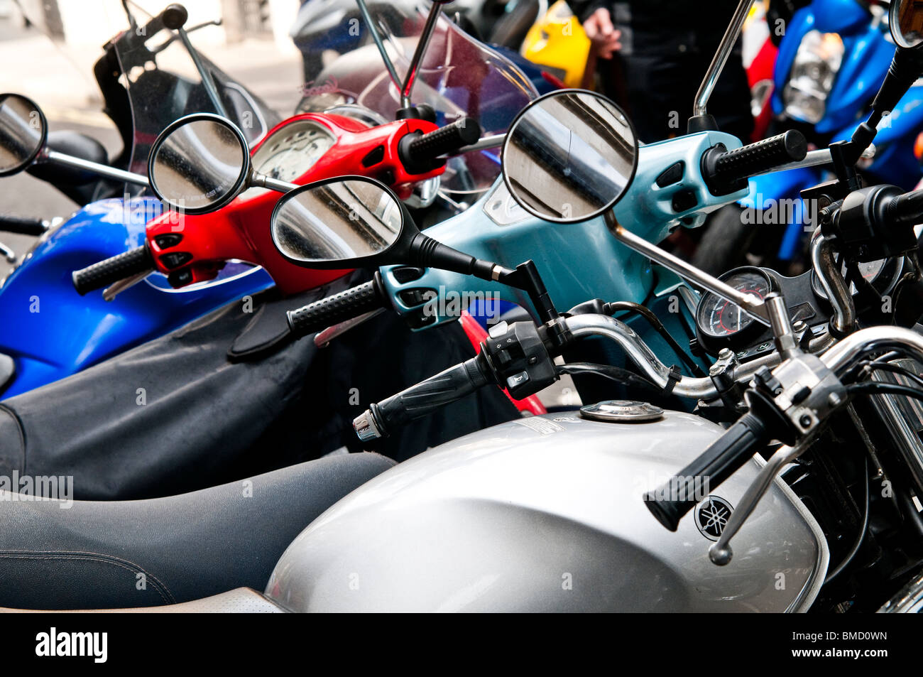 Motorcycle wing mirrors - Stock Image
