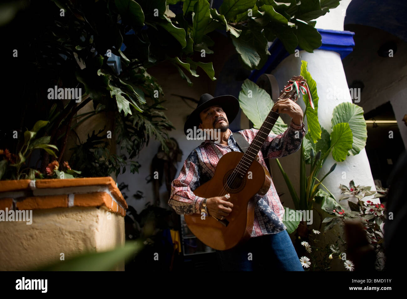 Pablo Barba performs for tourists in the Emiliano's restaurant in Tlayacapan, Mexico, February 5, 2008. Photo/Chico Stock Photo