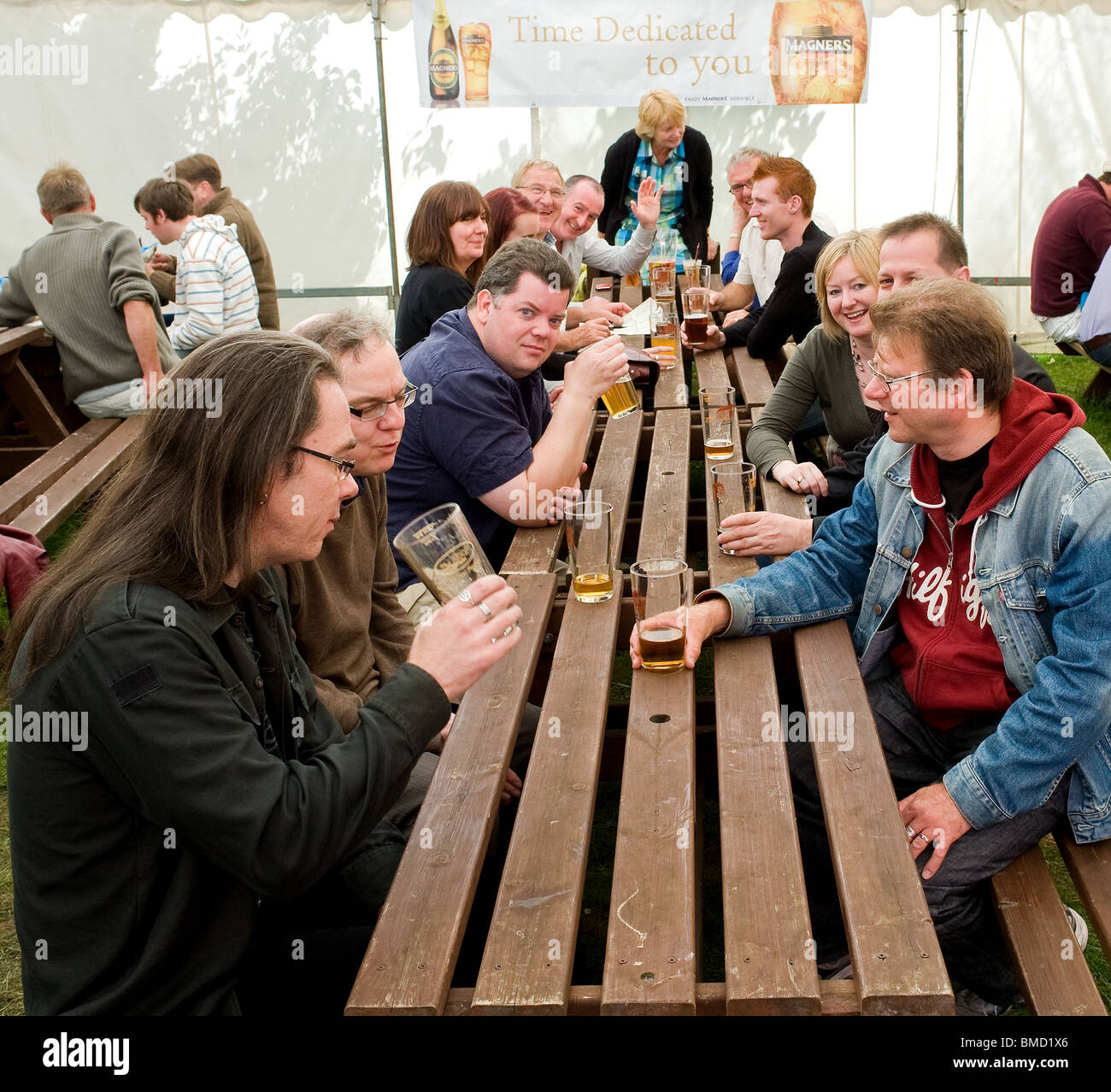Customers at the Hoop Beer festival in Stock in Essex.  Photo by Gordon Scammell - Stock Image