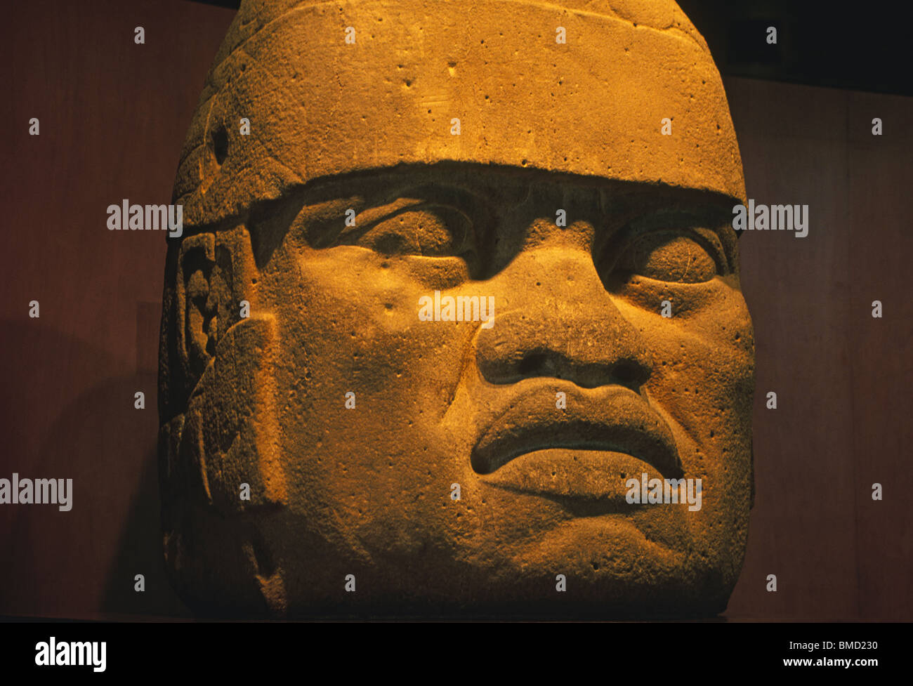 The Olmec Heads, from precolumbian mesoamerica on display at the National Museum of Anthropology in Mexico City, - Stock Image