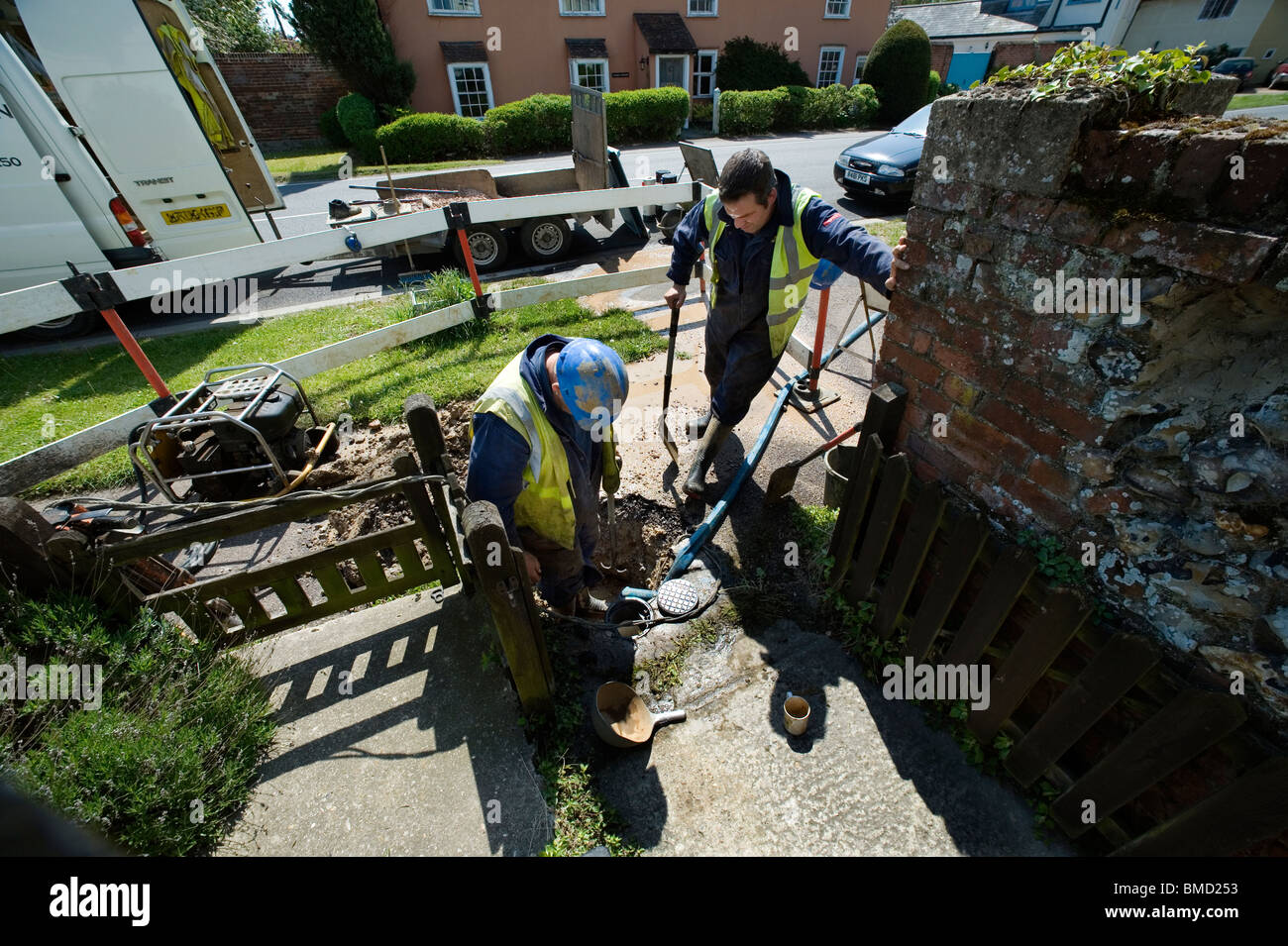 Water leak outside photographers house, Stoke by Clare,Suffolk.Britain,UK. - Stock Image