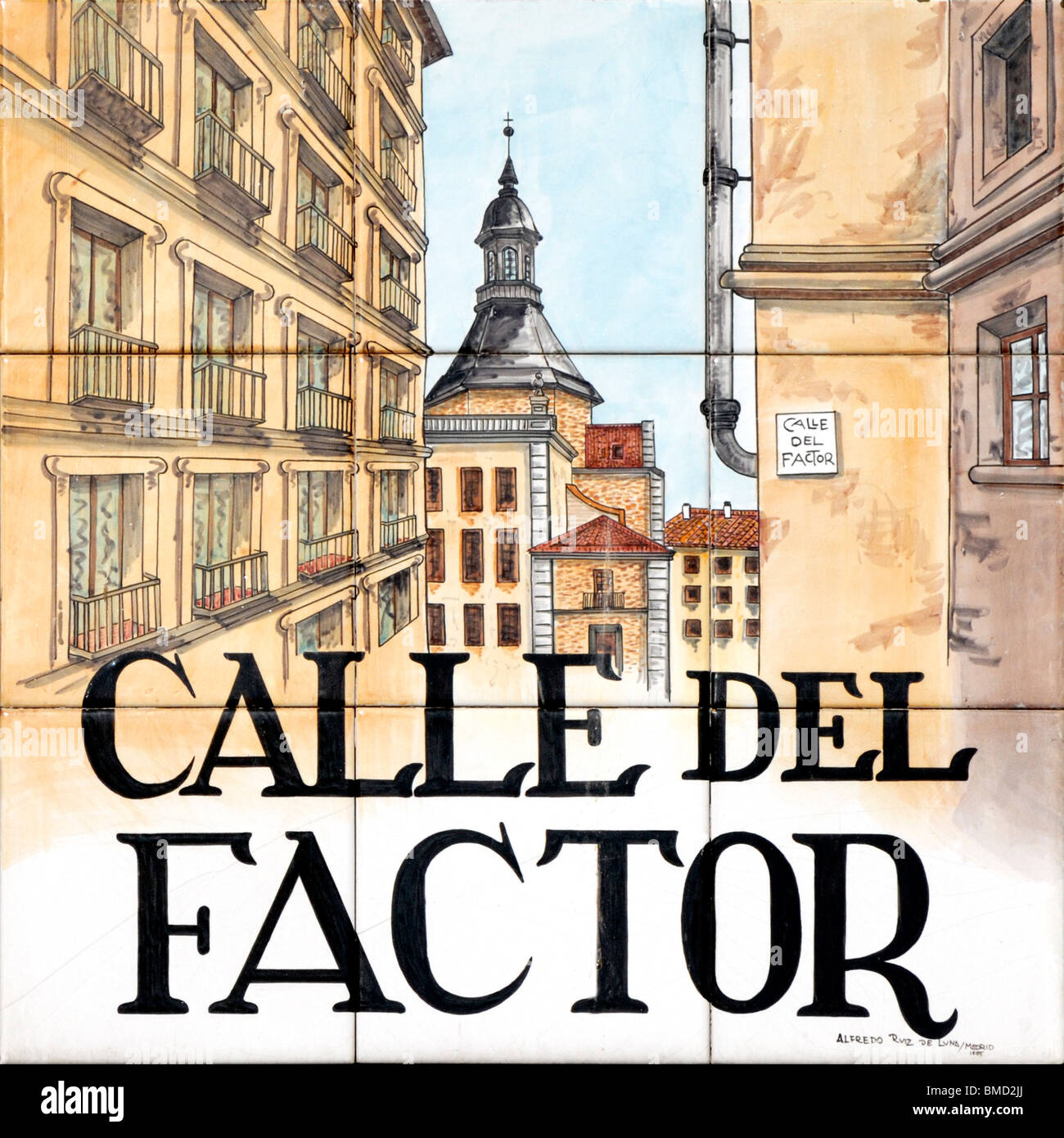Madrid, Spain. Traditional Tiled Street Sign. Calle del Factor (by Alfredo Ruiz de Luna / Madrid) - Stock Image