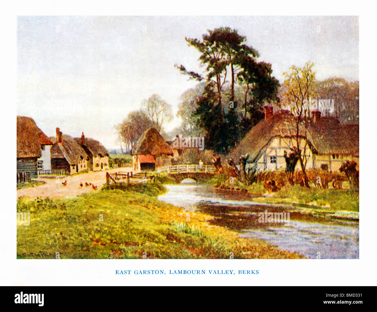 East Garston, Lambourne Valley, Berks, 1920 watercolour by Sutton Palmer of a village idyll in the Royal county - Stock Image