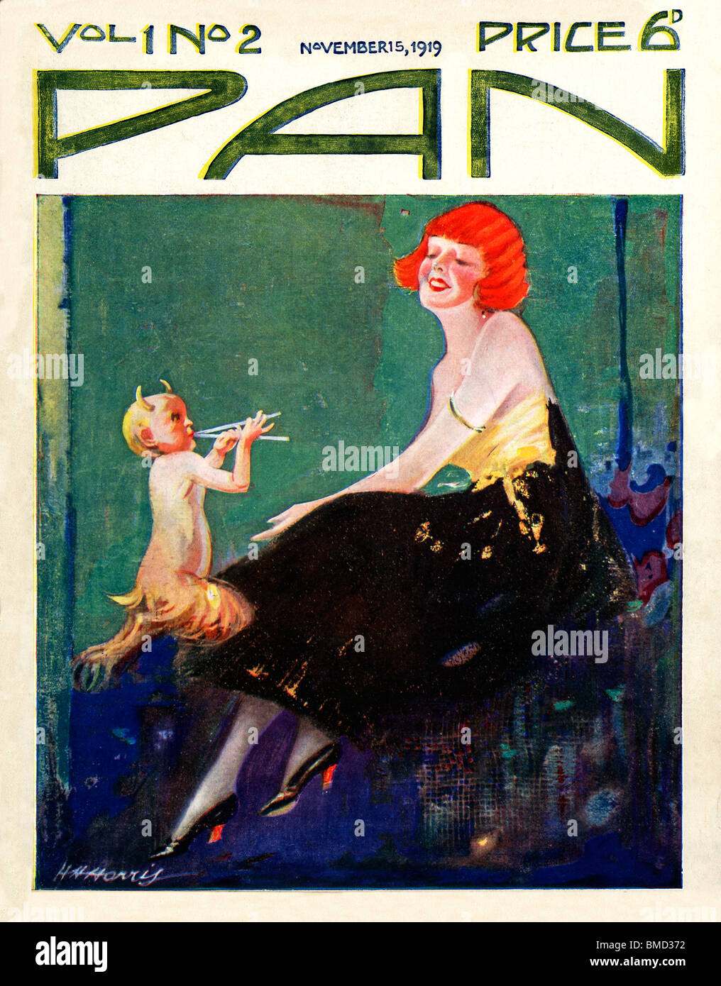 Pan, 15 November 1919, art deco cover of the English literary magazine, the Greek god serenades a girl with his - Stock Image
