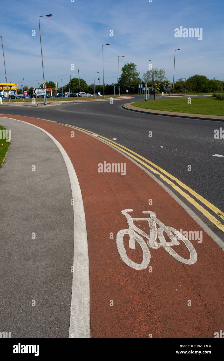 Cycle lane in Dinnington, south yorkshire - Stock Image