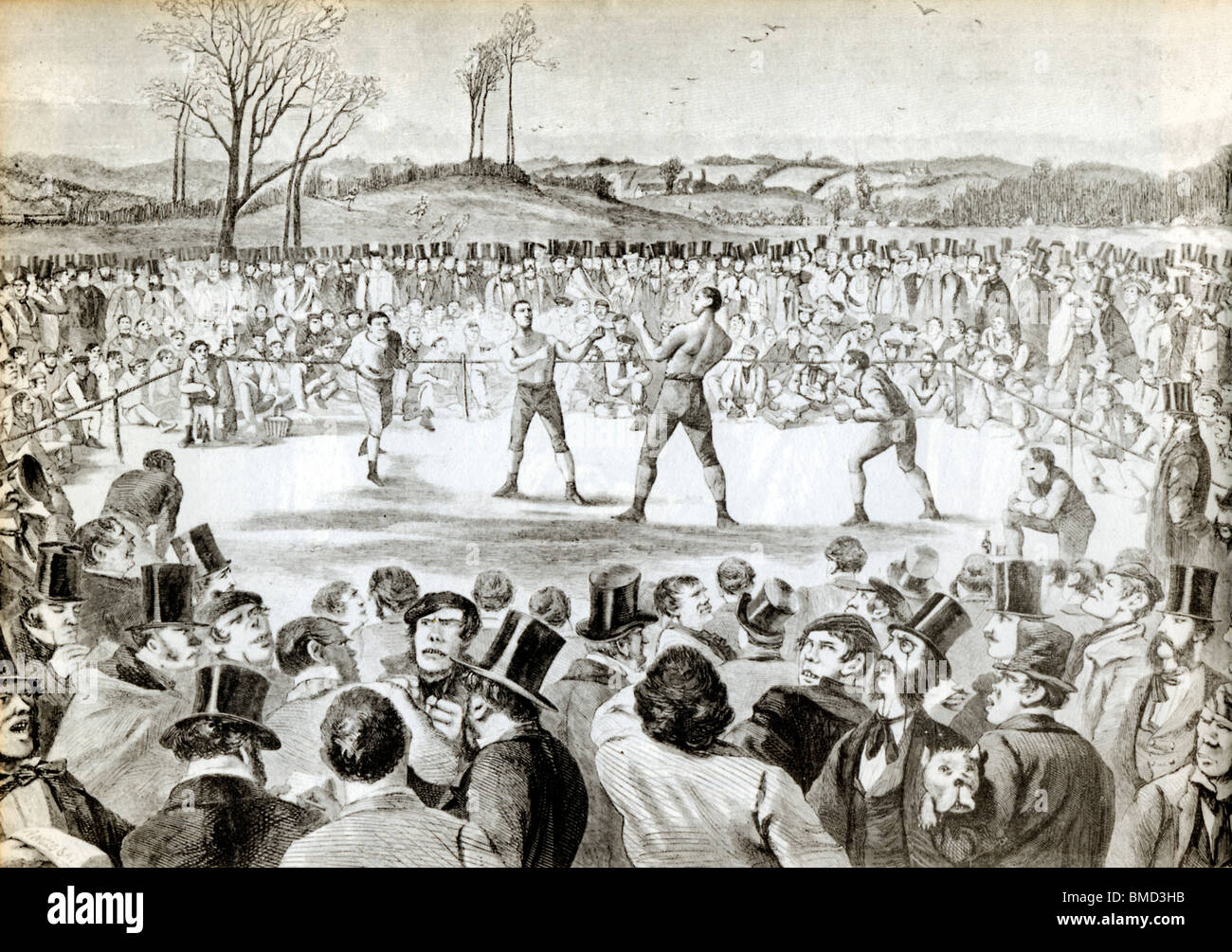 Tom Sayers v John Heenan, England v USA, at Farnborough 17 April 1860 for the World Heavyweight title, it was a - Stock Image