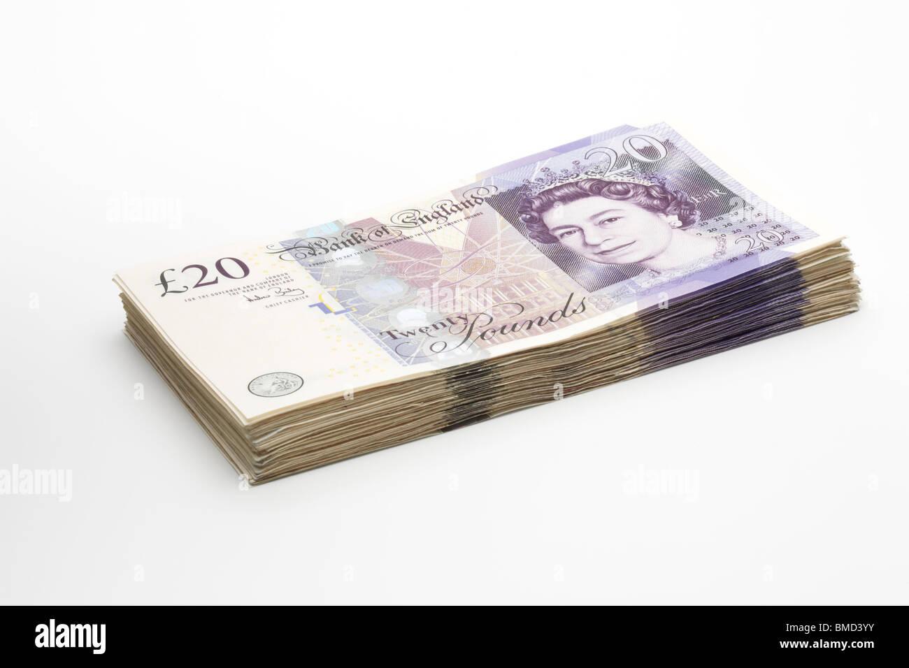 A Stack of Twenty Pound Notes - Stock Image