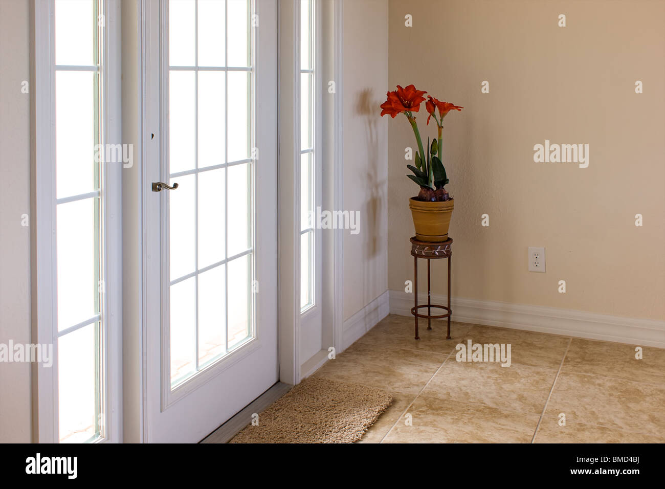 bright and airy image of front entry to house showing white door with sunlight streaming through and a plant stand Stock Photo