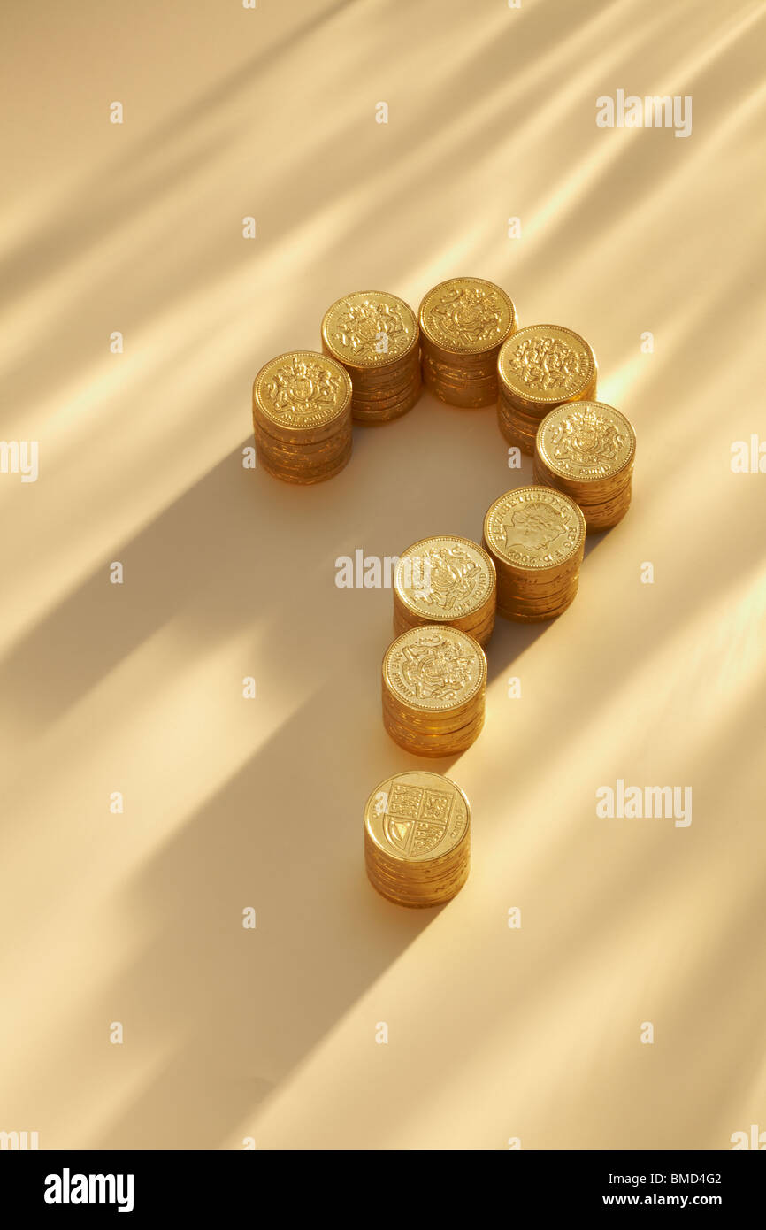 Question Mark in Pound Coins Stock Photo