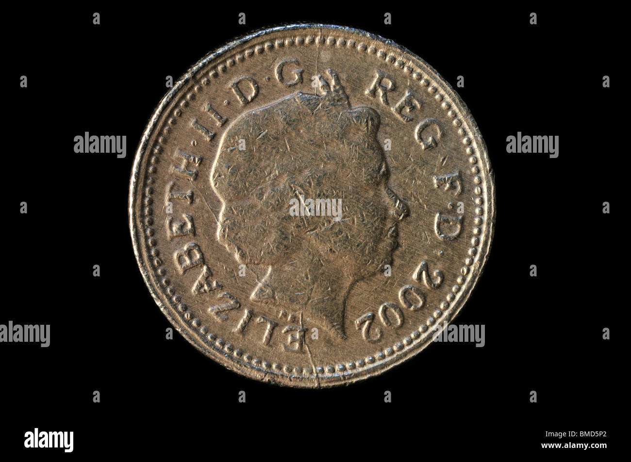 Fake UK 2002 one pound coin obverse showing third portrait with obvious flaws 1/2 - Stock Image